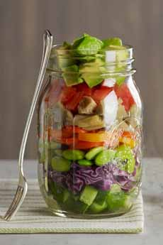 Layered Salad in Mason Jar