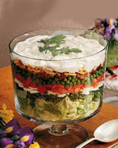 Layered Salad With Blue Cheese Dressing